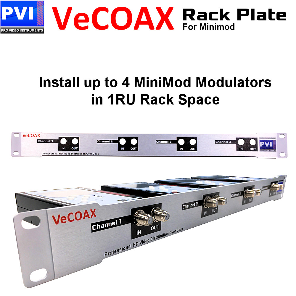 1RU Rack Moult Plate Accessory to install up to 4 VeCOAX MiniMods in a 1u 19