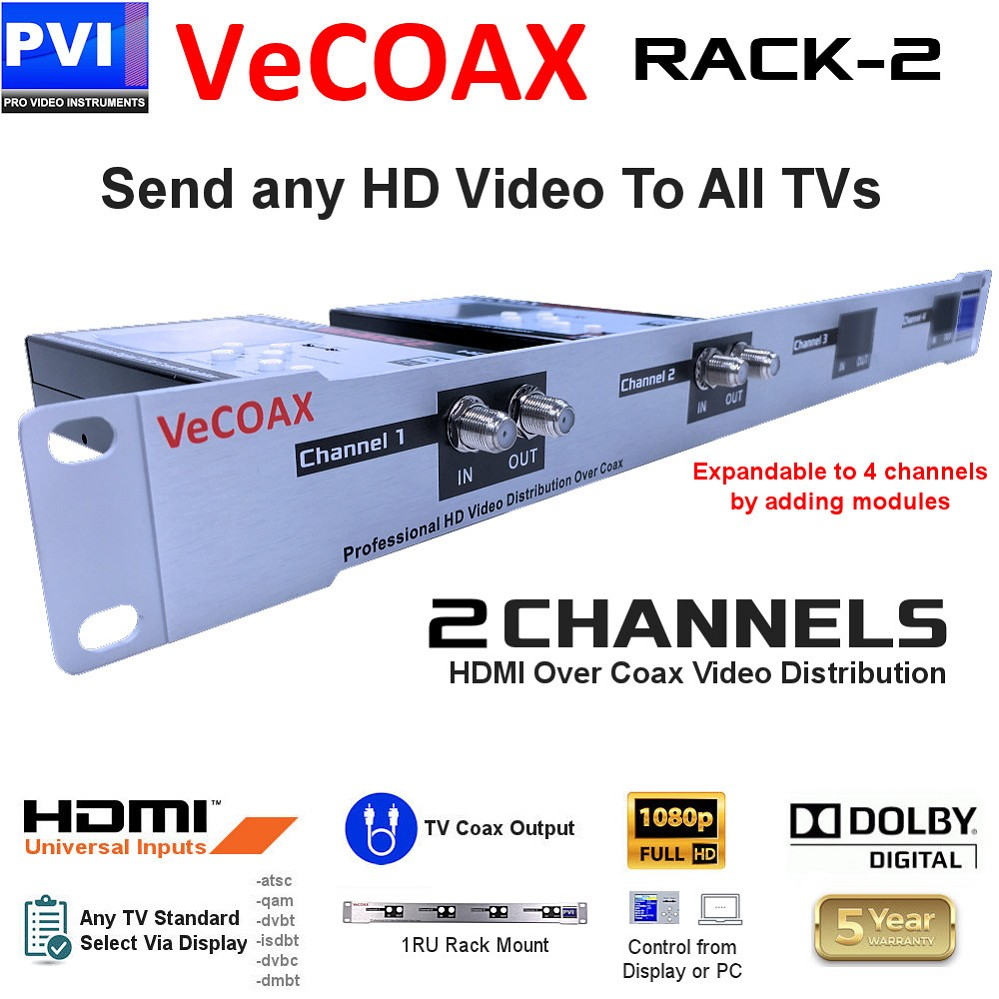 VeCOAX RACK-2 is a Two Channels HDMI To Coax channels HD RF Modulator for 1080P full HD dolby HDMI Video Distribution to all TVs over coax