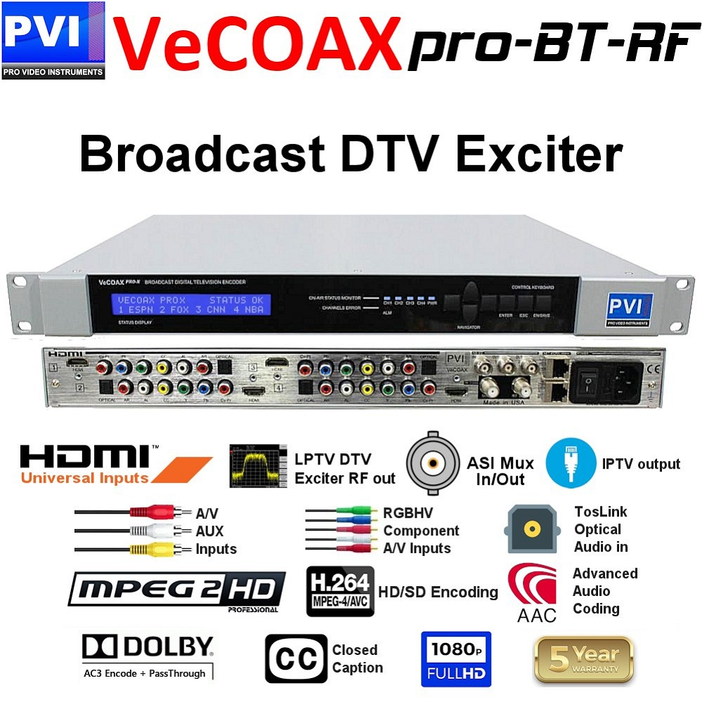 VECOAX PRO-BT-RF Broadcast SD-HD Video Encoder and Exciter with up to Four simultaneous encoding multiplexing and direct RF modulation out ready for the transmission amplifier