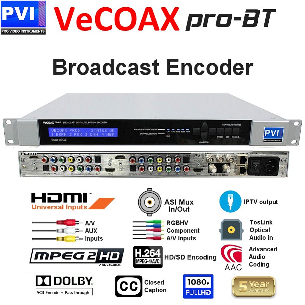 VECOAX PRO-BT is a Broadcast Digital Television SD/HD Video Encoder with ASI & IP output and up to 4 simultaneous channels for LPTV DTV Broadcasting