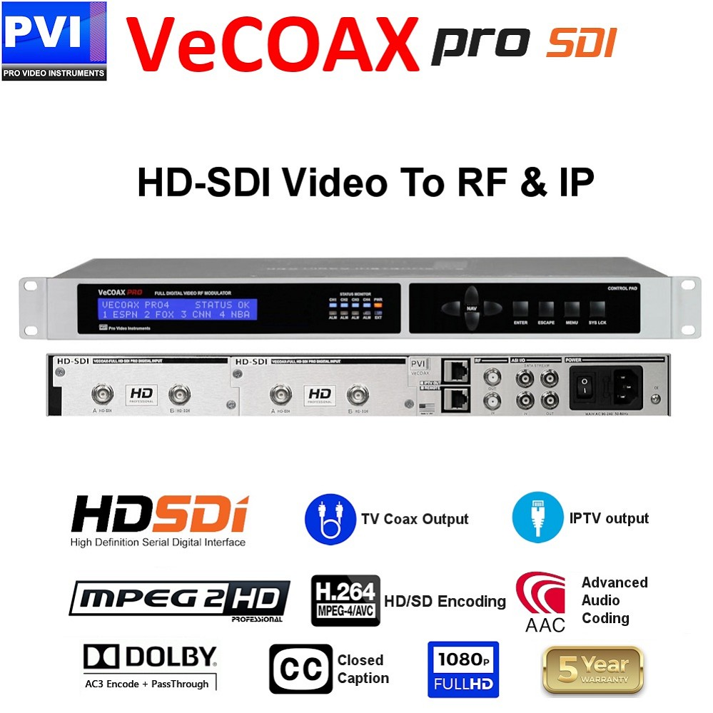 4 CHANNEL HD/SD 3G-SDI - CC - Dolby AC3 & Pass-Through 1080P Professional HD-SDI Modulator<br>VECOAX-PRO-SDI