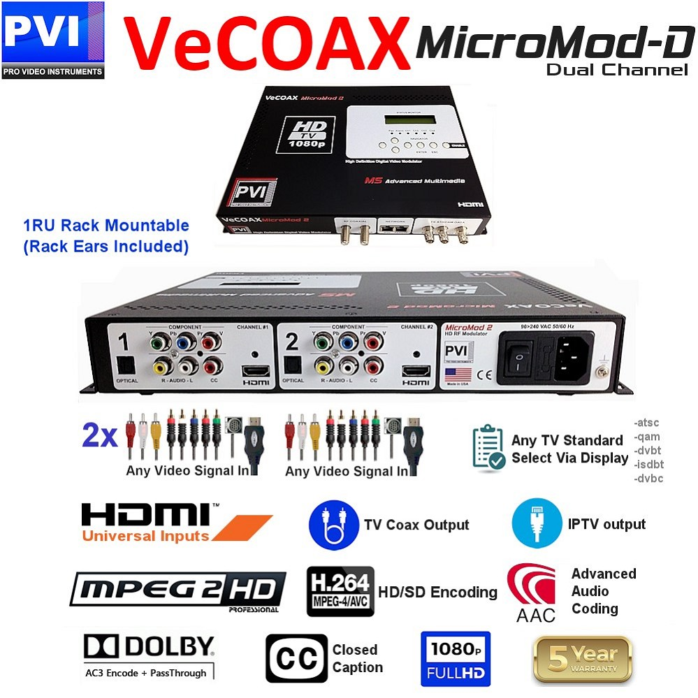 2 CHANNEL HDMI + RGBHV Component + CVBS Composite + Analog & HDMI Digital Audio - CC - Dolby AC3 & Pass-Through 1080P Universal HD Modulator<br>VECOAX-MICROMOD-DUAL