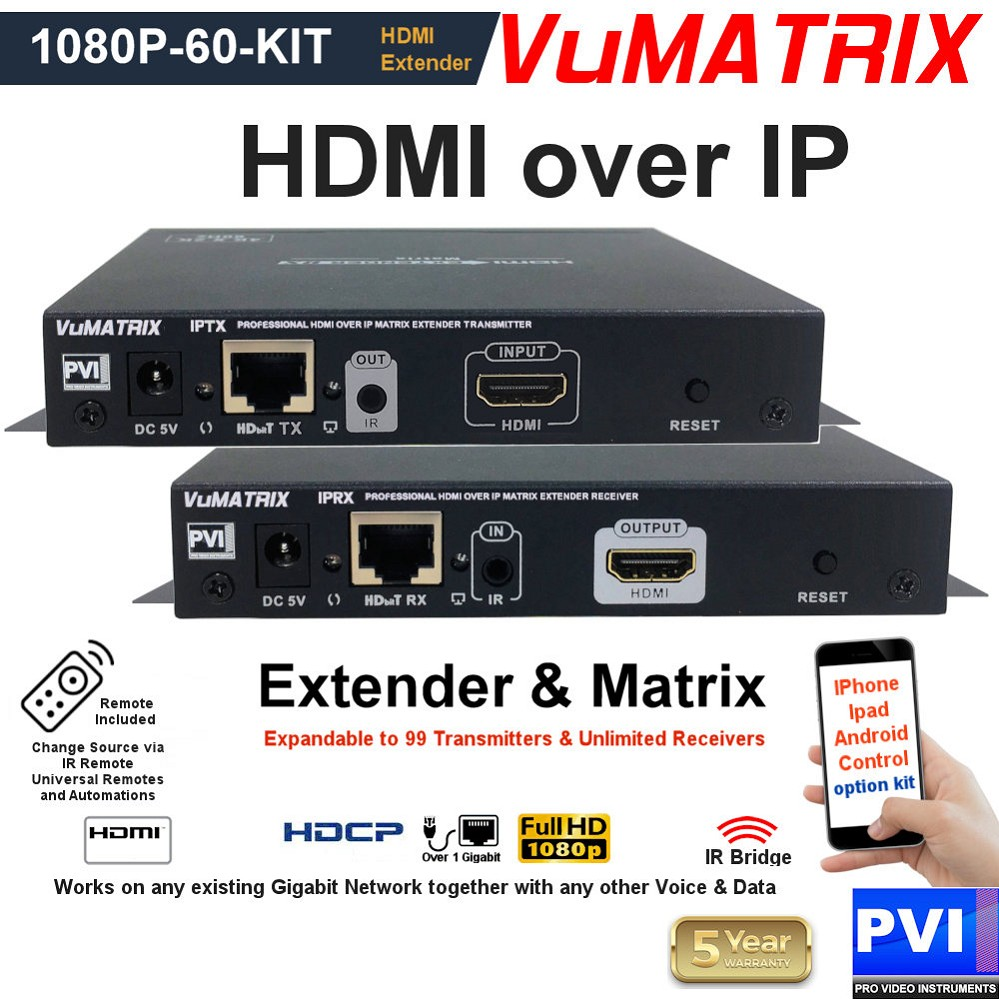 VUMATRIX 1080P-60-KIT is an HDMI over IP Extender Kit to extend any Full HD HDMI HDCP video over the existing IP network expandable as a matrix by adding transmitters and receivers at any time