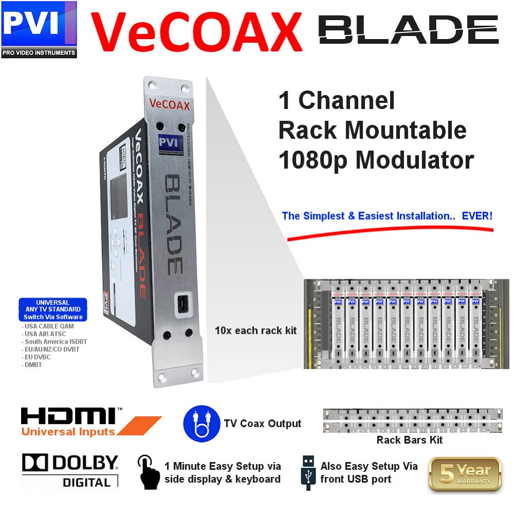 1 CHANNEL Rack-Mountable HDMI-AV-CC Video To Coax 1080P Dolby HD Modular Modulator with Aux Audio In - AUX CVBS CC - USB Control<br>VECOAX-BLADE-PRO-HDMI