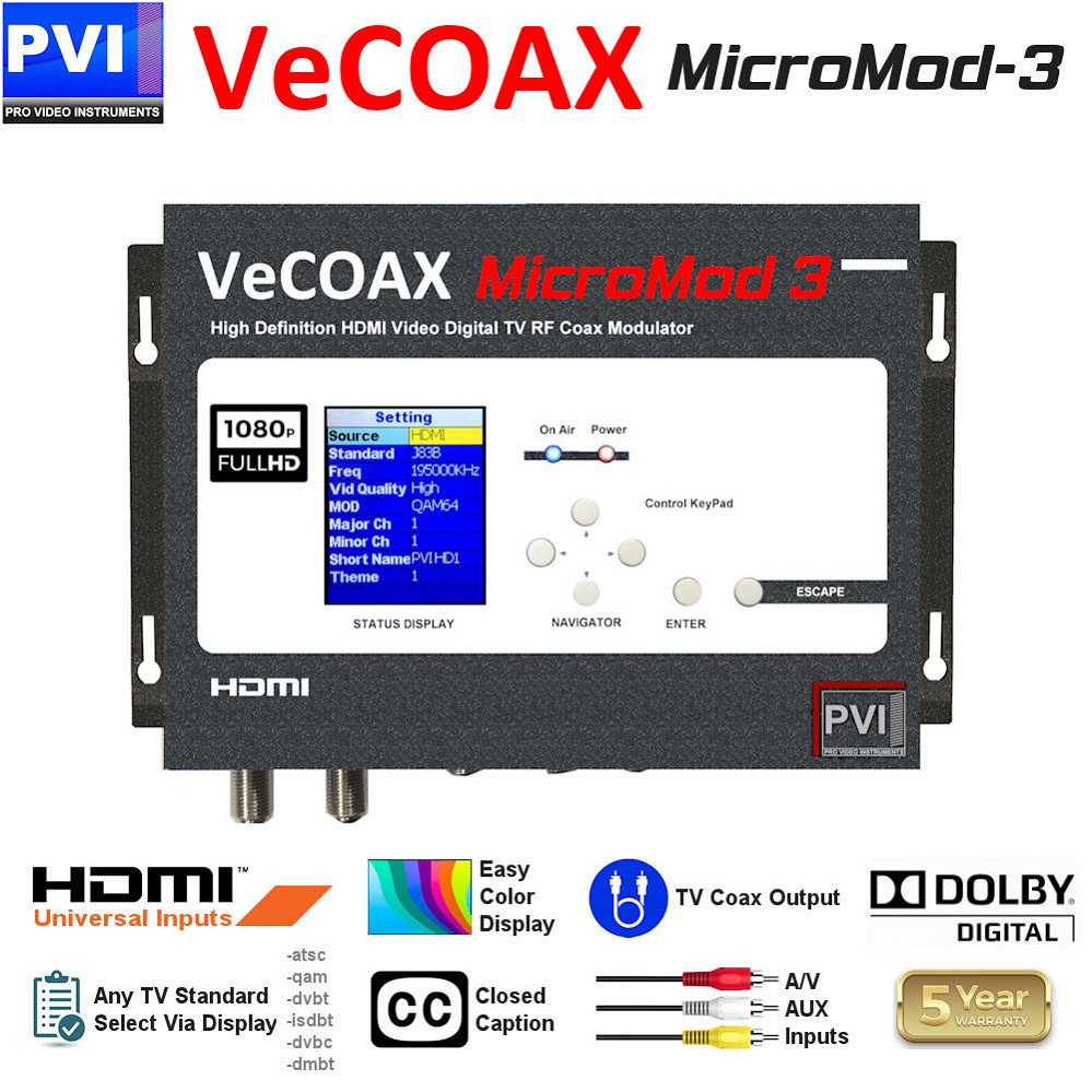 1 CHANNEL HDMI-AV-CC Video To Coax 1080P Dolby HD Modulator Compact Series<br>VeCOAX MICROMOD-3