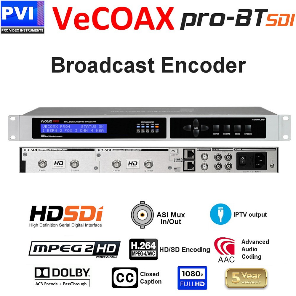 VECOAX PRO-BT-SDI is a Broadcast Digital Television 3G SD/HD SDI Video Encoder with ASI & IP output and up to 4 simultaneous channels for LPTV DTV Broadcasting