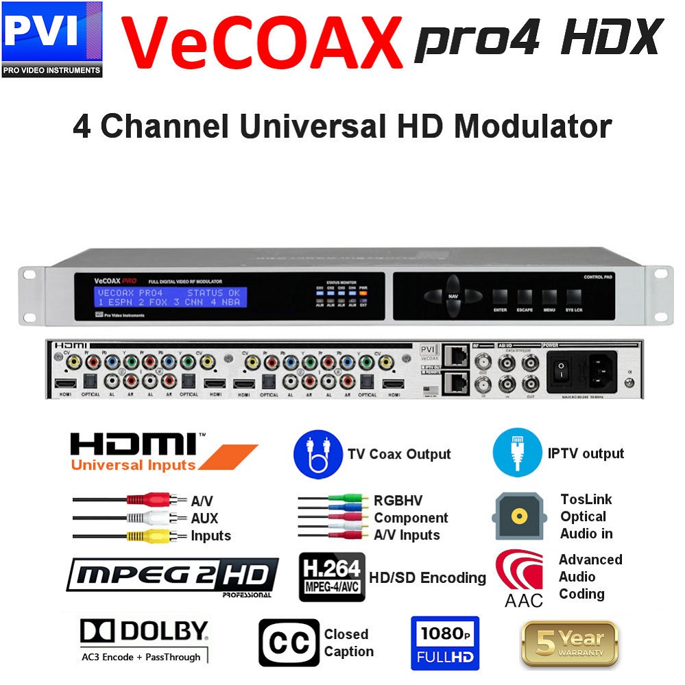 4 CHANNEL HDMI + RGBHV Component + CVBS Composite + Analog / HDMI / Optical Audio - CC - Dolby AC3 & Pass-Through 1080P Universal HD Modulator<br>VECOAX-PRO4-HDX