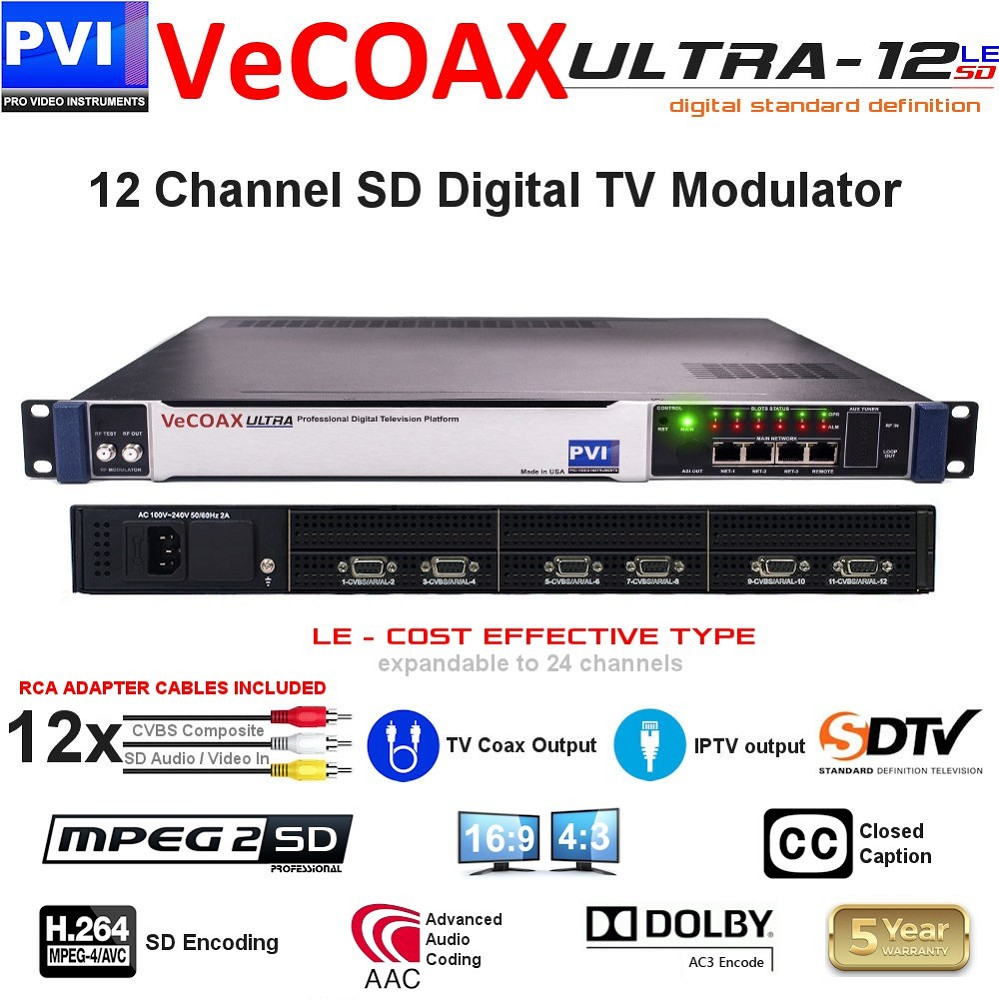 12 CHANNEL CVBS Composite SD Video with CC & Stereo Audio To Coax Digital TV SD Modulator - expandable to 24Ch<br>VeCOAX ULTRA 12-AV-LE