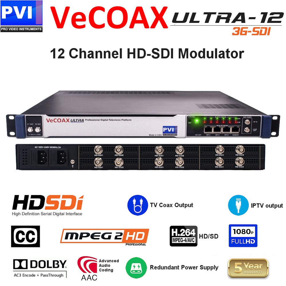 12 CHANNEL HD-SDI-CC Video To Coax 1080P Dolby HD Modulator with Dual Power supply<br>VeCOAX ULTRA 12-SDI