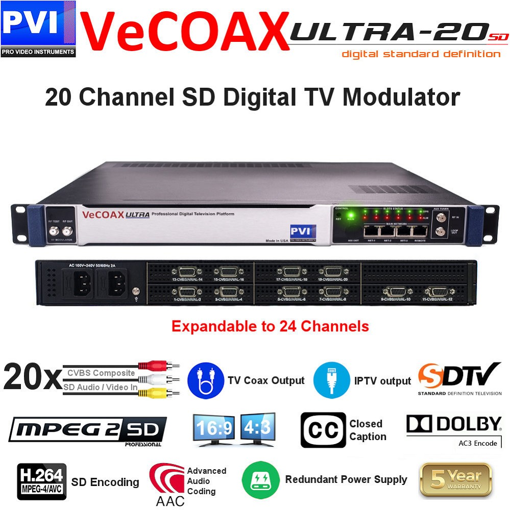 20 CHANNEL CVBS Composite SD Video with CC & Stereo Audio To Coax Digital TV SD Modulator with Dual Power supply - expandable to 24Ch<br>VeCOAX ULTRA 20-AV