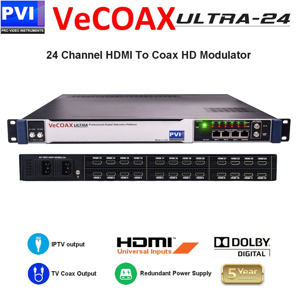 24 CHANNEL HDMI Video To Coax 1080P Dolby Pass H.264 HD Modulator with Dual Power supply<br>VeCOAX ULTRA 24-HDMI4