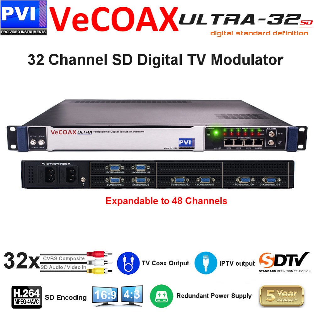 32 CHANNEL CVBS Composite SD Video with CC & Stereo Audio To Coax Digital TV SD H264 Modulator with Dual Power supply - expandable to 48Ch<br>VeCOAX ULTRA 32-AV4