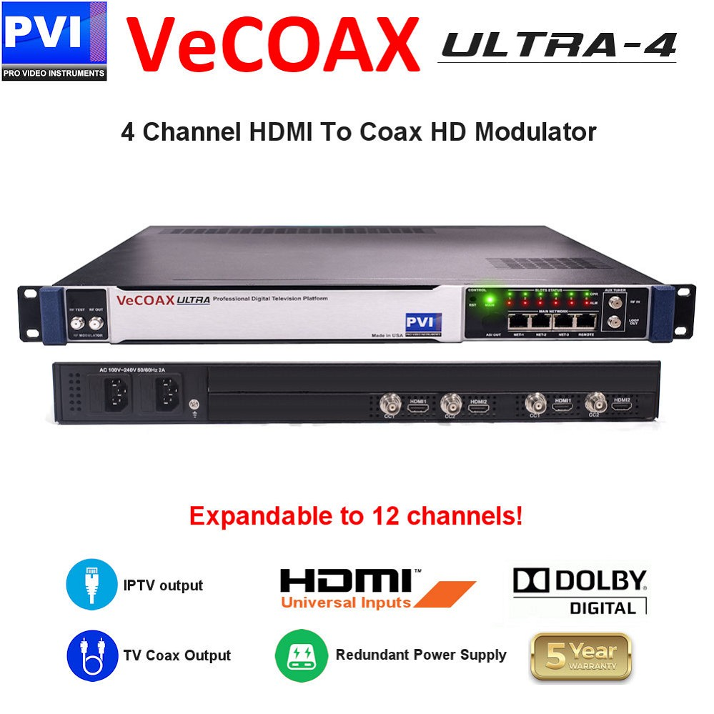 4 CHANNEL HDMI-CC Video To Coax 1080P Dolby HD Modulator with Dual Power supply & expandable to 12Ch<br>VeCOAX ULTRA 4-HDMI