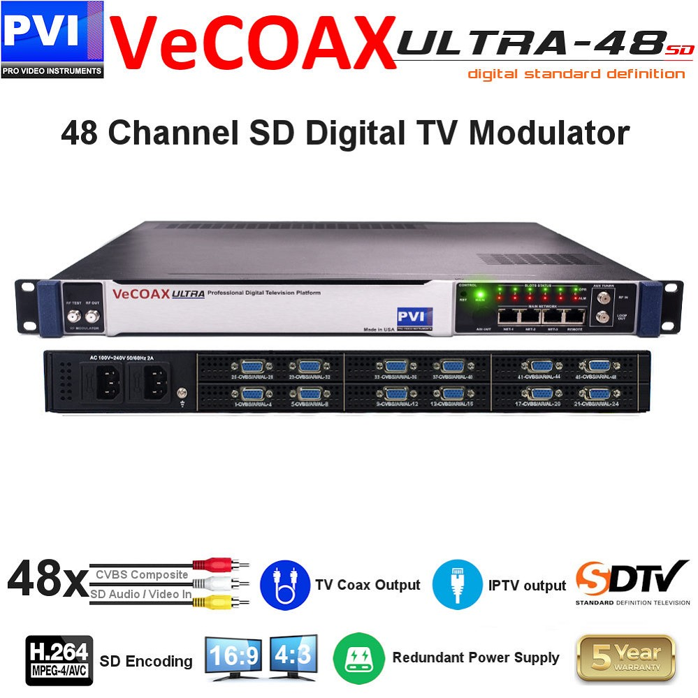 48 CHANNEL CVBS Composite SD Video with CC & Stereo Audio To Coax Digital TV SD H264 Modulator with Dual Power supply<br>VeCOAX ULTRA 48-AV4