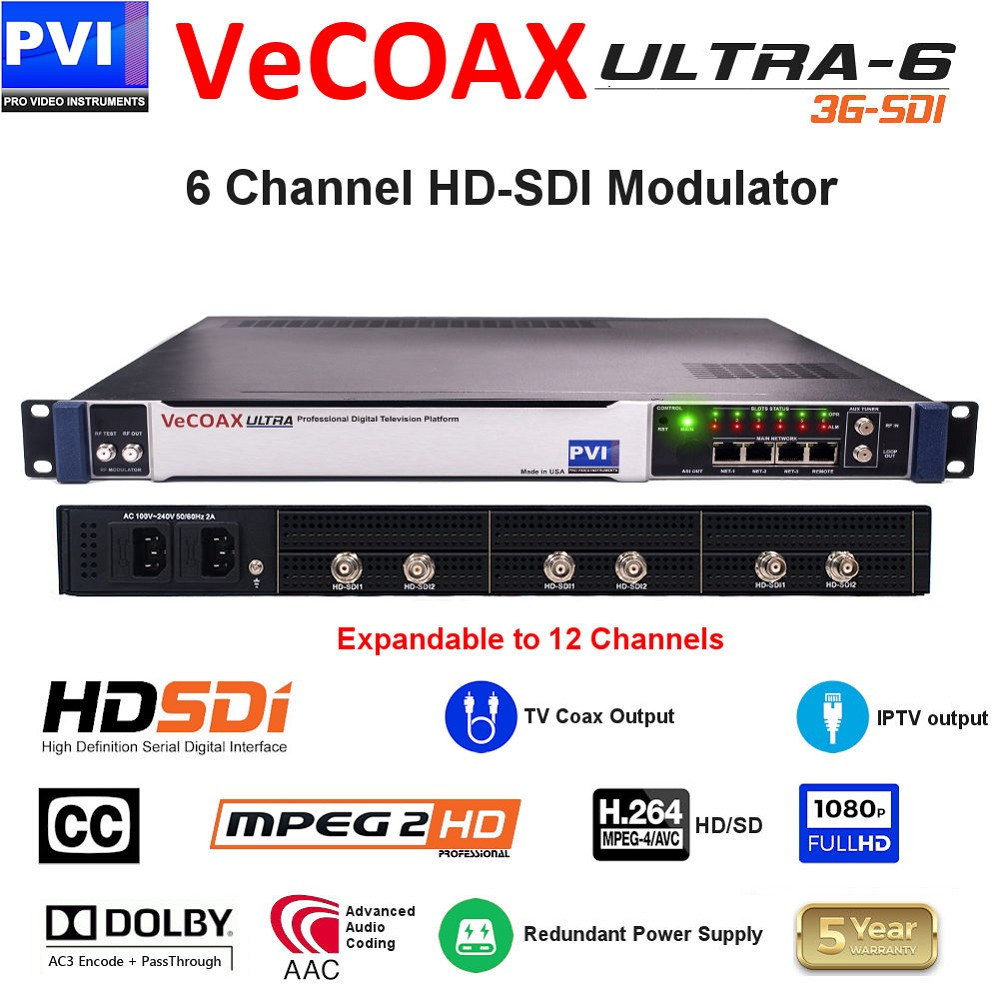 6 CHANNEL HD-SDI-CC Video To Coax 1080P Dolby HD Modulator with Dual Power supply - expandable to 12Ch<br>VeCOAX ULTRA 6-SDI