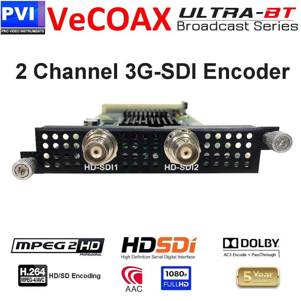 2 Channel 3G-SDI Video + CC Mpeg2 / Mpeg4 HD/SD 1080p Encoder Card <br>XP-2SDI-E24-ULTRA-BT