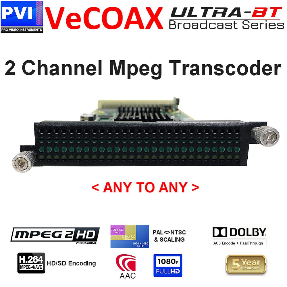 2 Channel Mpeg2/4 Dolby AAC CC Scaler Converter Transcoder Card <br>XP-2TRS-E24-ULTRA-BT