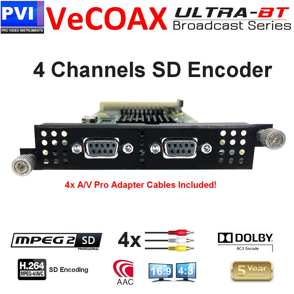 4 Channel CVBS Composite SD Video + CC Mpeg2 / Mpeg4 SD Encoder Card <br>XP-4CVBS-E24-ULTRA-BT