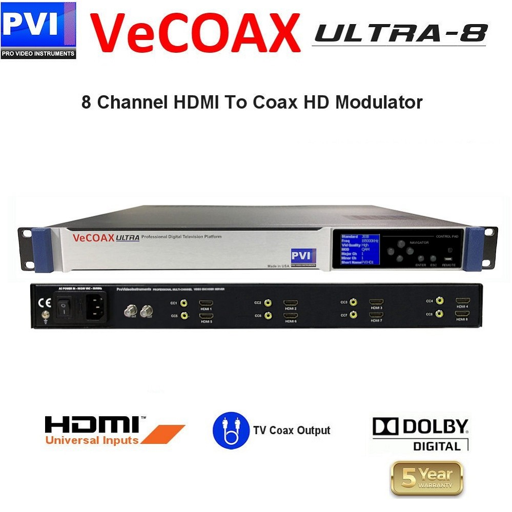 8 Channels HDMI Video distribution over existing TV cables to unlimited TVs in Full HD<br>VeCOAX ULTRA 8-HDMI