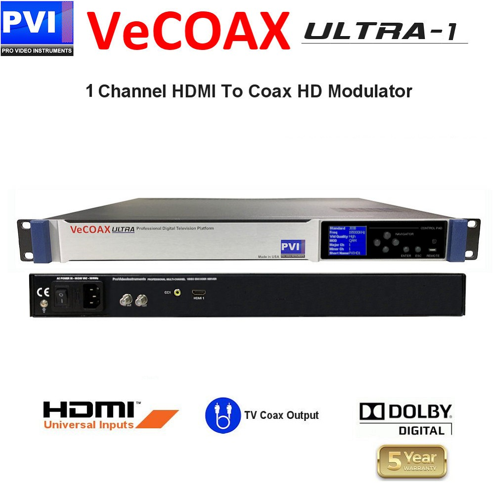 1 Channel HDMI Video distribution over existing TV cables to unlimited TVs in Full HD<br>VeCOAX ULTRA 1-HDMI