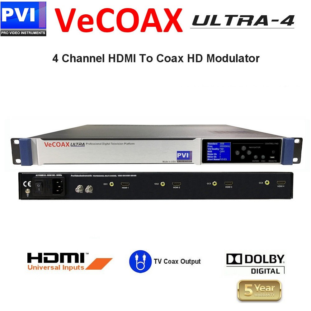 VECOAX ULTRA-4 is a Four channels HDMI Modulator to channels to distribute HD Video Over coax with real time perfect quality