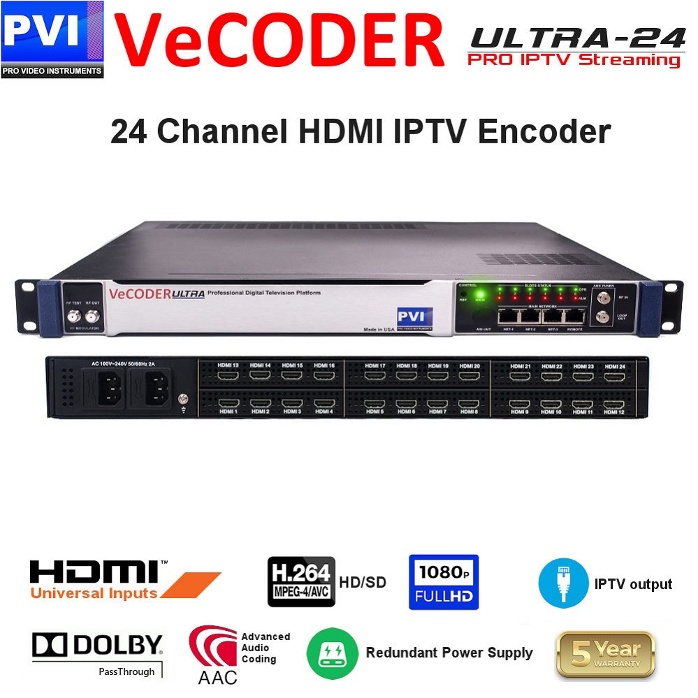 24 CHANNEL HDMI Video To IP Professional HD Streaming Encoder 1080p H264 Any Dolby Pass-through & Dual Power supply<br>VeCODER-ULTRA-24-HDMI