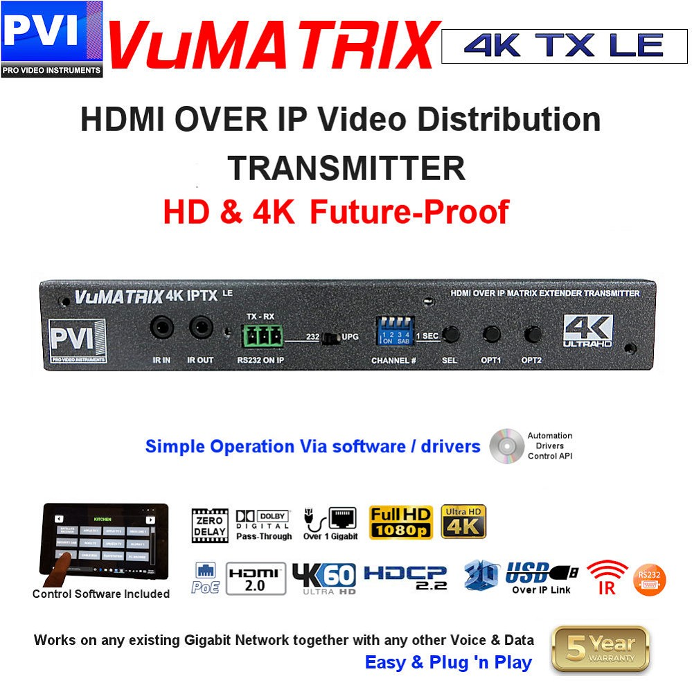 HDMI OVER IP HD & 4K Video Distribution Matrix System - Ethernet Simple TRANSMITTER<br>VuMATRIX-4K-TX-LE