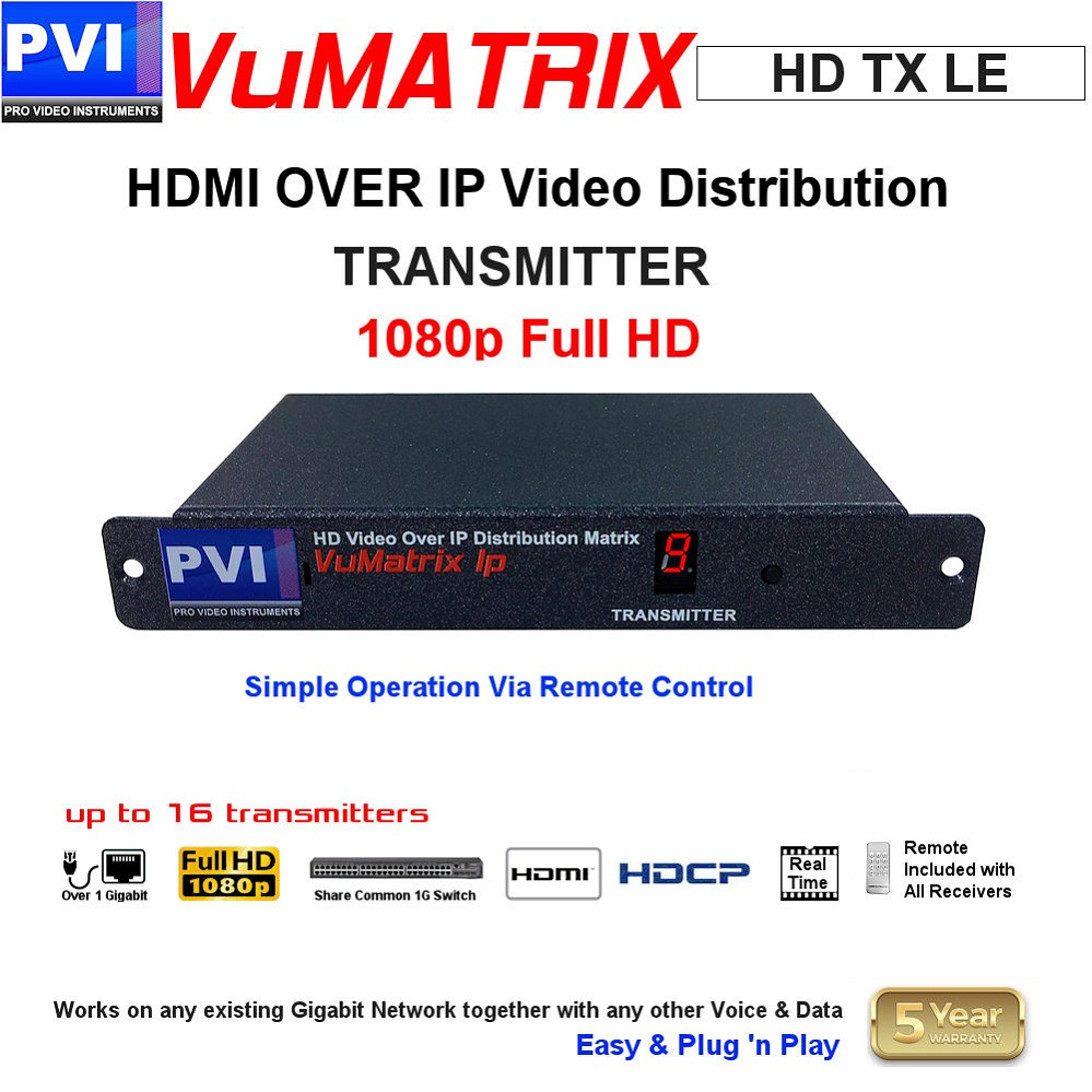 HDMI OVER IP HD 1080p Video Distribution Matrix System - Ethernet Simple TRANSMITTER<br>VuMATRIX-HD-TX-LE