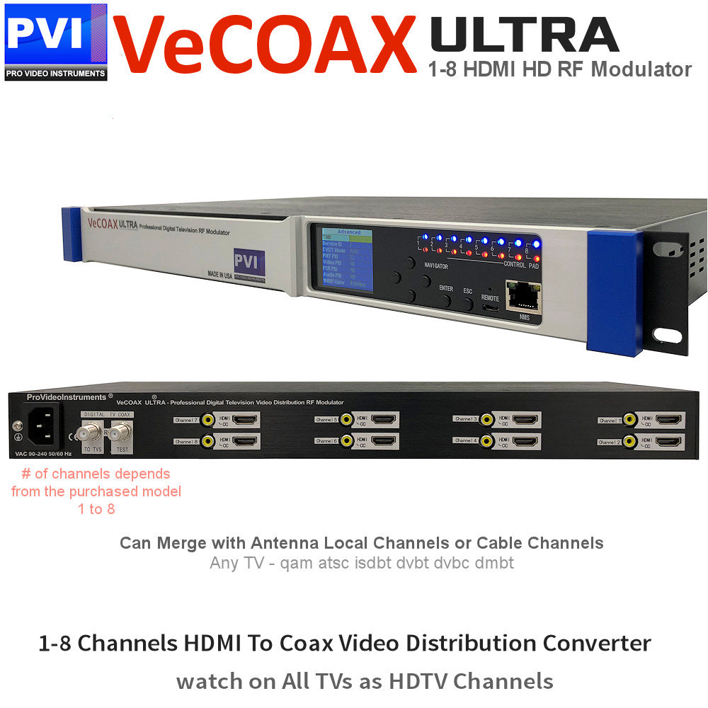 VECOAX ULTRA-2 Professional 2 Channels CC HDMI RF Modulator for HDMI to  Coax Video Distribution Over Coax to Unlimited TVs as HDTV Channels
