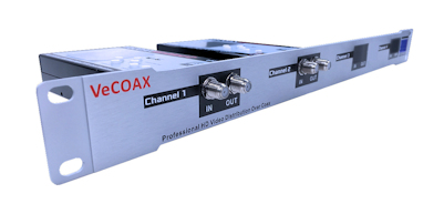 2 channes hd rf modulator to qam atsc with hdmi input for hdmi distribution over coax as hdmi extender splitter vecoax rack 2 pvi