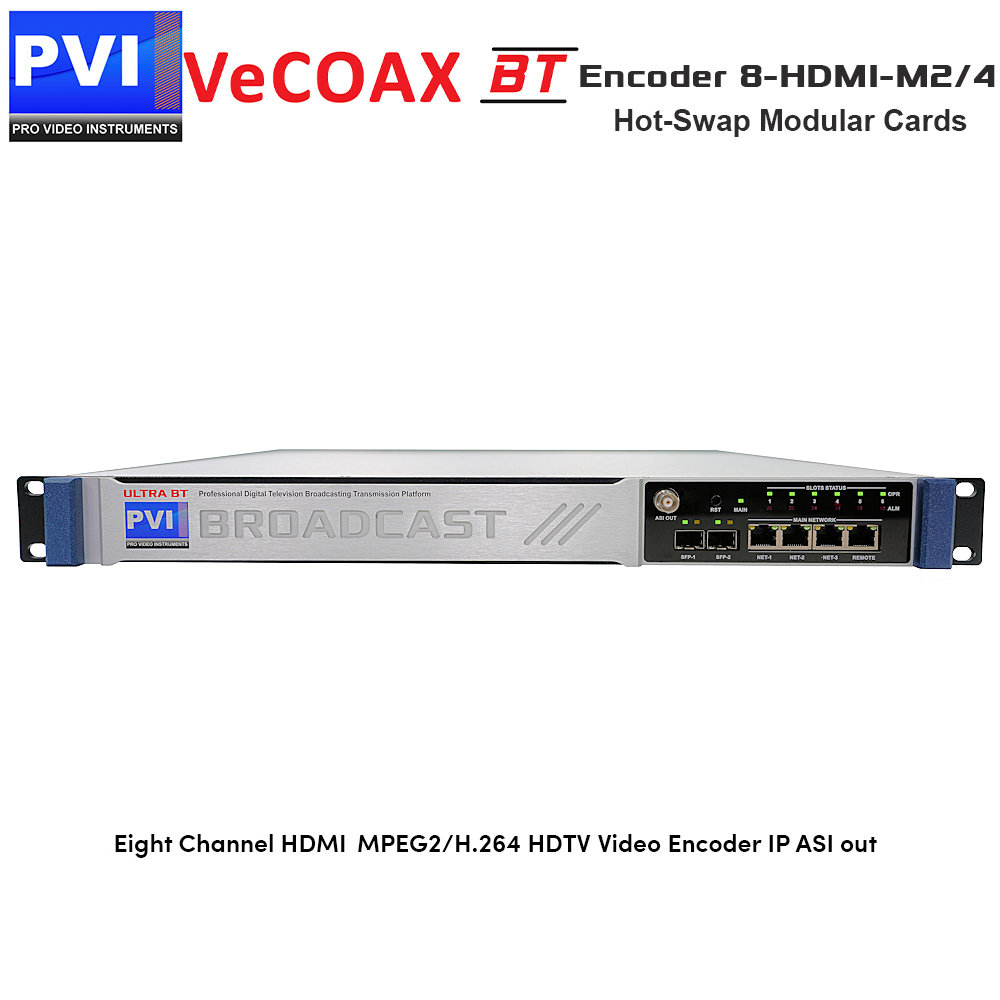 VeCODER-BT 8-HDMI-M2/4 Encoder - 8 Channel HDMI + Component YPbPr  MPEG2/H 264 HDTV Video Encoder with IP and ASI out