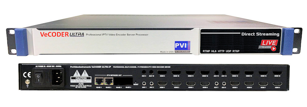 VECODER ULTRA-8 is a Eight channels HDMI over ip video encoder streaming  server to distribute hd video over ip to TVs and iptv players