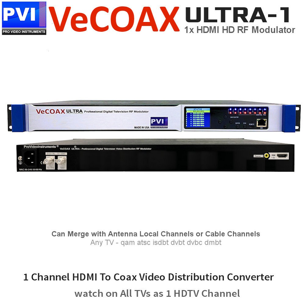 VECOAX ULTRA-1 Professional 1 Channel CC HDMI RF Modulator for HDMI to Coax Video Distribution Over Coax to Unlimited TVs as HDTV Channel