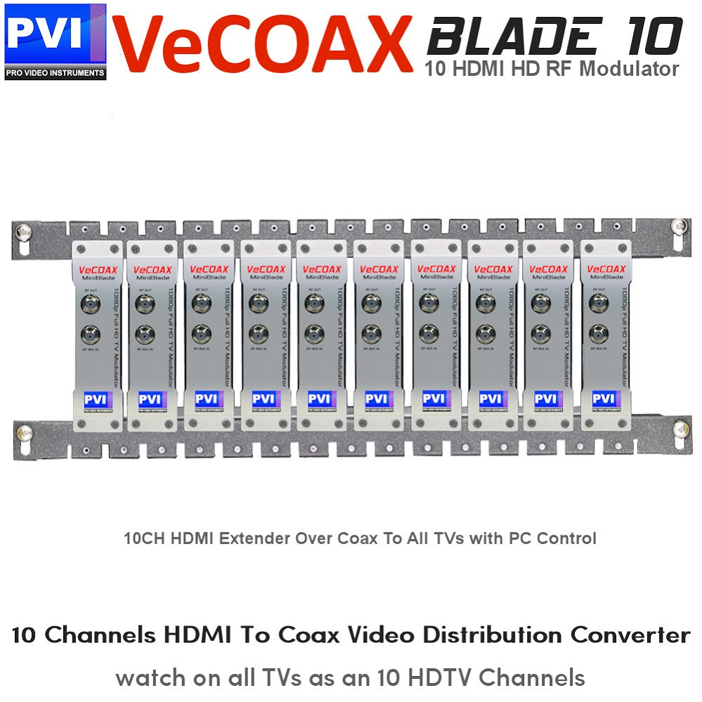 VECOAX BLADE-10 Professional Modular 10 Channels HDMI RF Modulator for HD to Coax Video Distribution Over Coax to Unlimited TVs as HDTV Channels