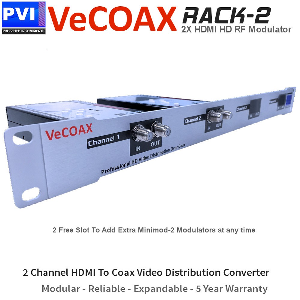 VECOAX RACK-2 Professional TWO Channels HDMI RF Modulator for HD to Coax Video Distribution Over Coax to Unlimited TVs as HDTV Channels