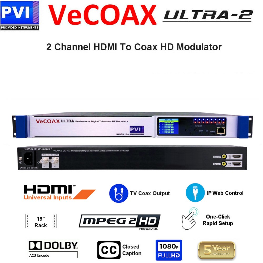 VECOAX ULTRA-2 is a Two channels HDMI Modulator to channels to distribute HD Video Over coax with IP Web Remote Control