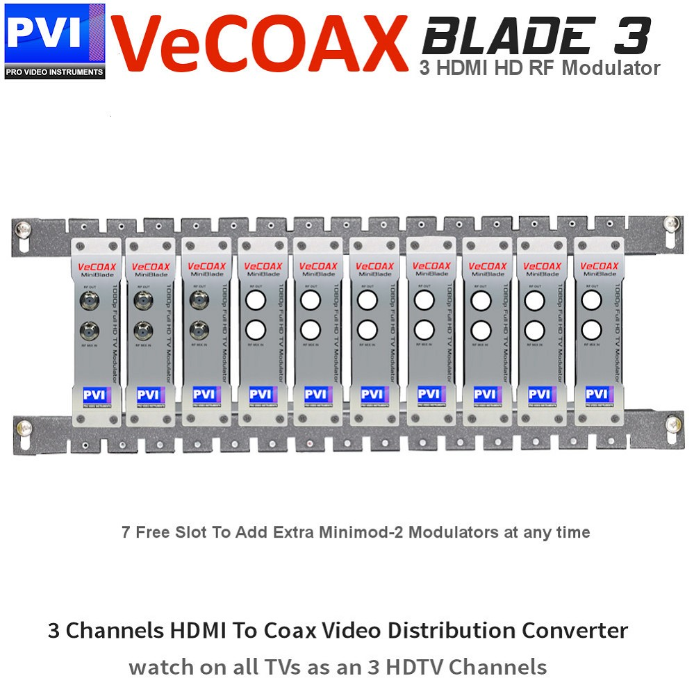 VECOAX BLADE-3 Professional Modular 3 Channels HDMI RF Modulator for HD to Coax Video Distribution Over Coax to Unlimited TVs as HDTV Channels