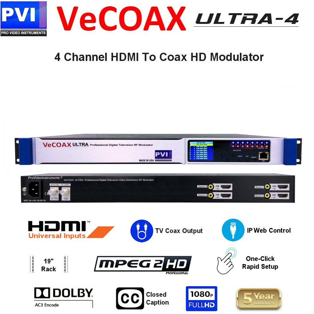 VECOAX ULTRA-4 is a Four channels HDMI Modulator to channels to distribute HD Video Over coax with IP Web Remote Control