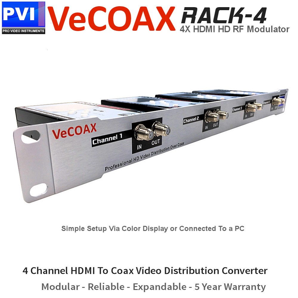 VECOAX RACK-4 Professional FOUR Channels HDMI RF Modulator for HD to Coax Video Distribution Over Coax to Unlimited TVs as HDTV Channels