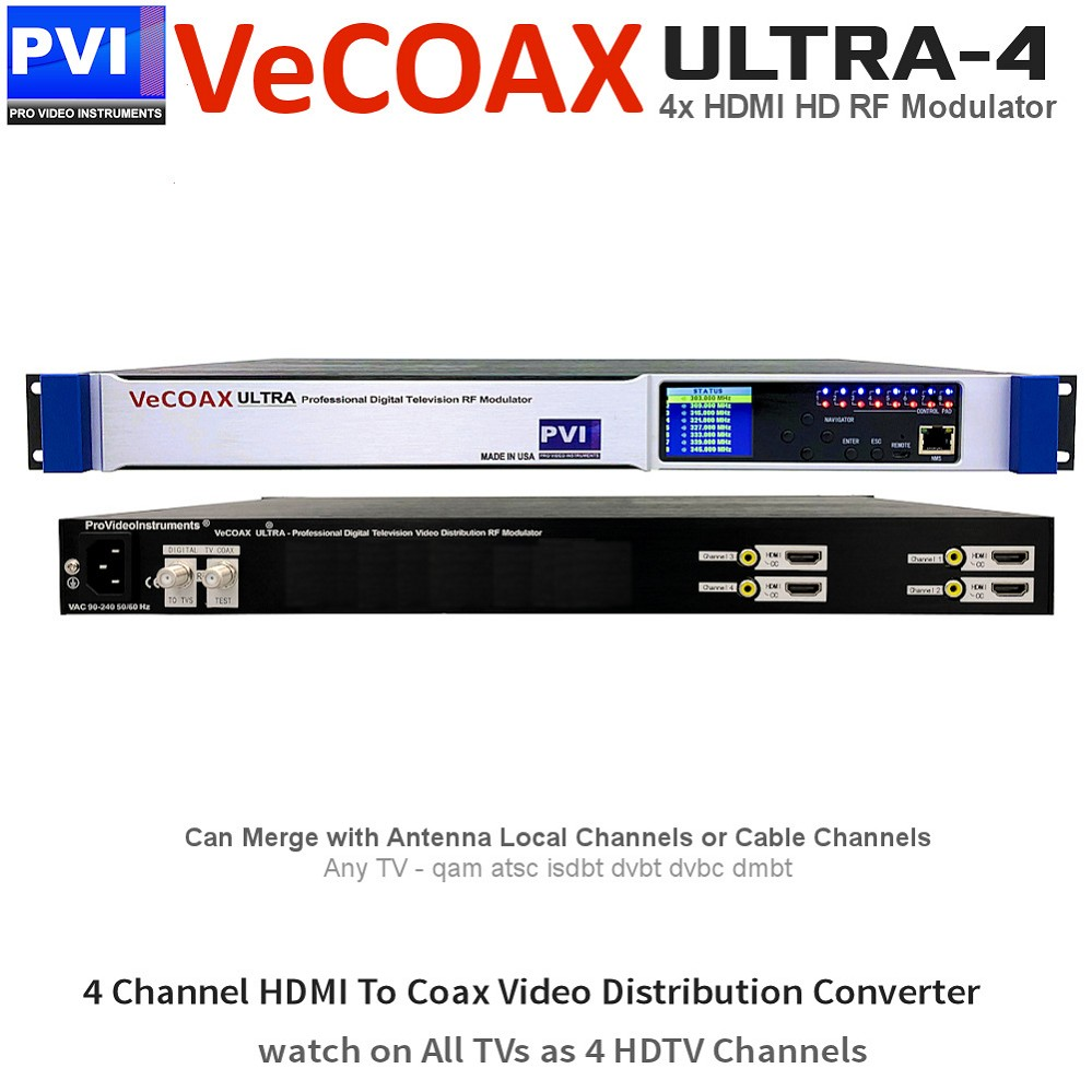 VECOAX ULTRA-4 Professional 4 Channels CC HDMI RF Modulator for HDMI to Coax Video Distribution Over Coax to Unlimited TVs as HDTV Channels