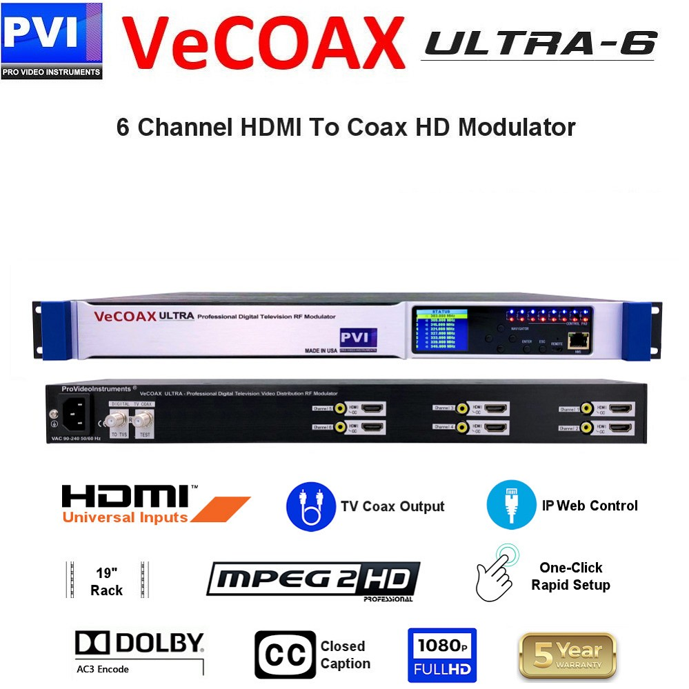 VECOAX ULTRA-6 is a Six channels HDMI Modulator to channels to distribute HD Video Over coax with IP Web Remote Control