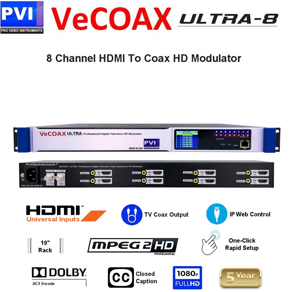 VECOAX ULTRA-8 is a Eight channels HDMI Modulator to channels to distribute HD Video Over coax with IP Web Remote Control