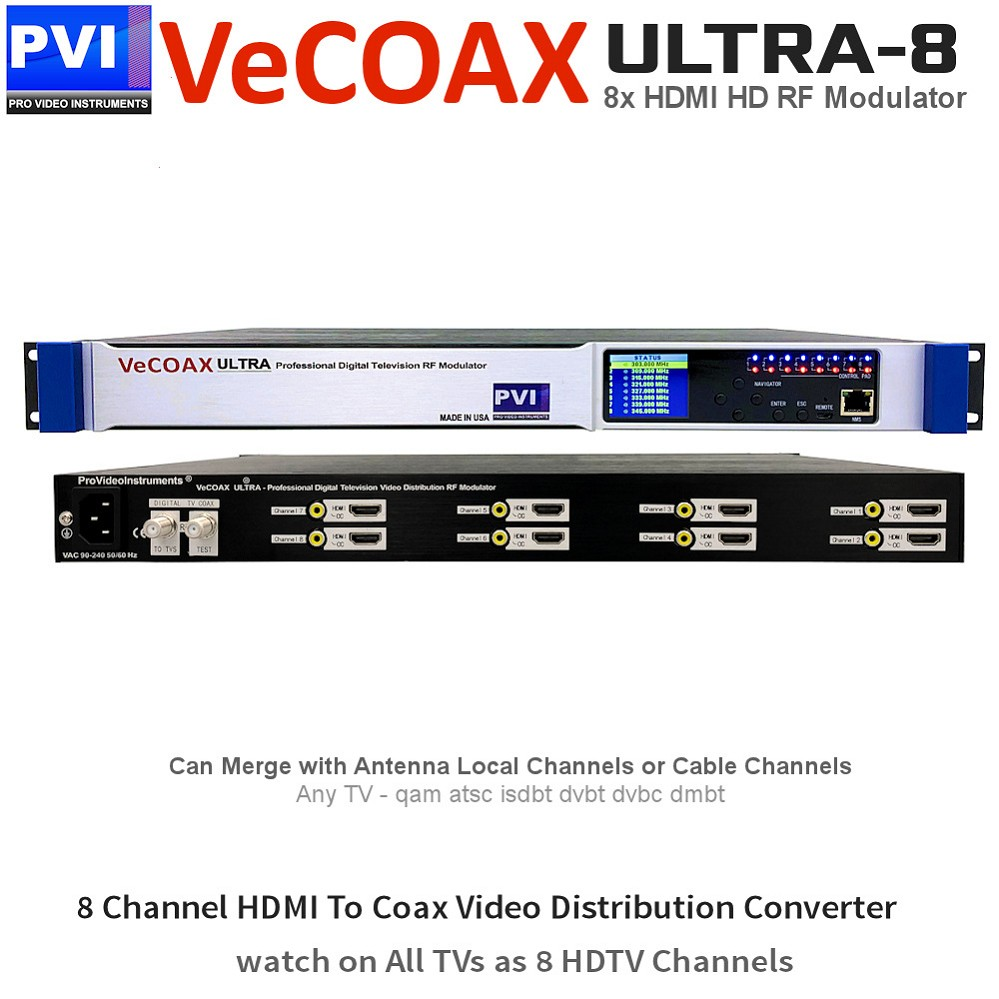 VECOAX ULTRA-8 Professional 8 Channels CC HDMI RF Modulator for HDMI to Coax Video Distribution Over Coax to Unlimited TVs as HDTV Channels