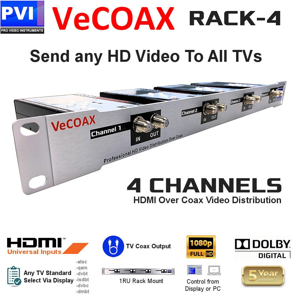 4 CHANNELS HDMI Video To Coax 1080P Dolby HD Modulator 1RU Rack Mount<br>VeCOAX RACK-4