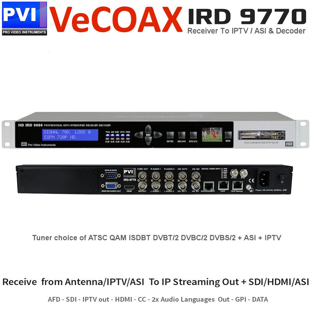 IRD-9770 IPTV Router Decoder - Broadcast IRD Integrated Receiver To IPTV Streaming out To Receive from Antenna ASI IP and output to IP Streaming the wanted services with also decoding to SDI HDMI AV Dual Stereo Data CC