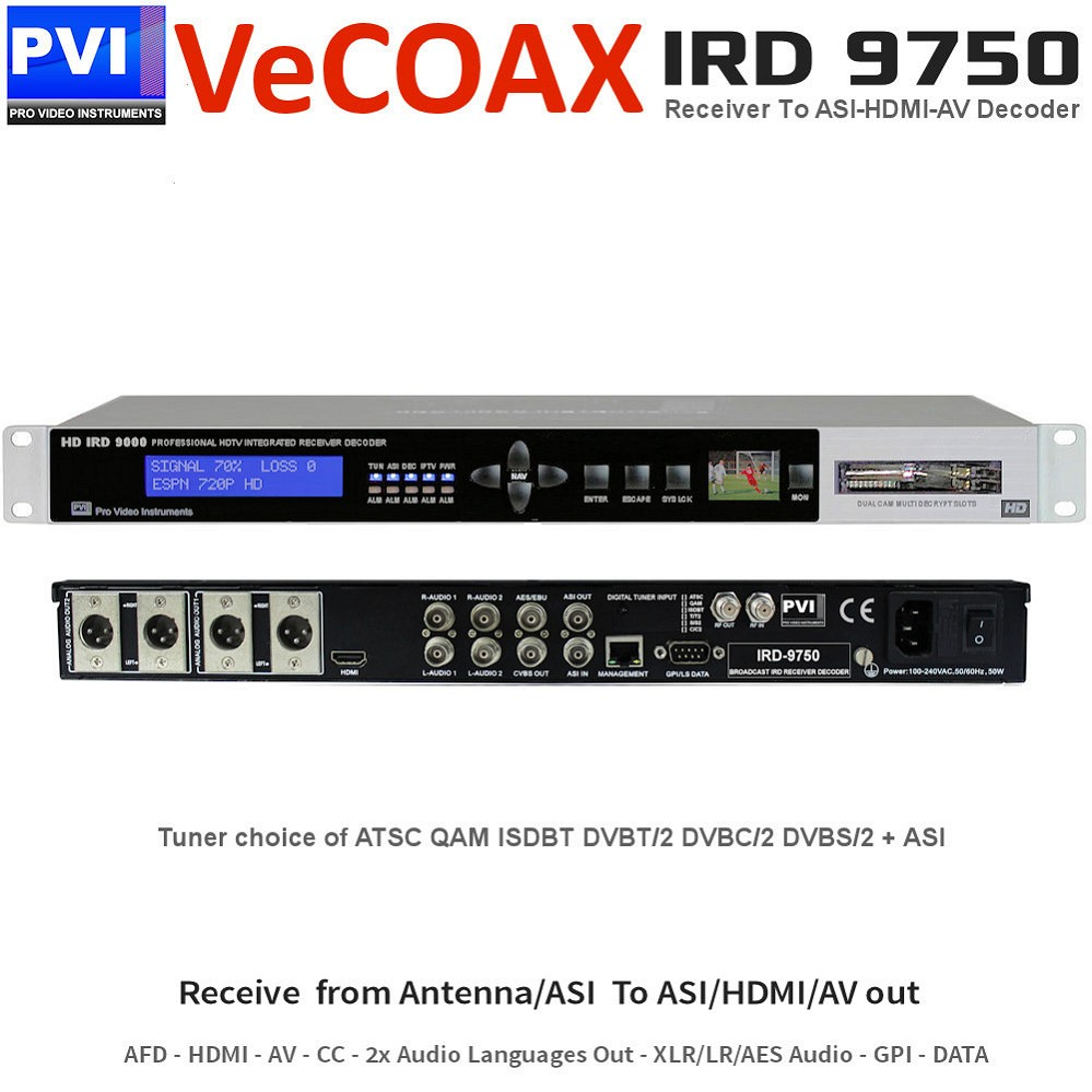 IRD-9750 RF ASI Decoder - Broadcast AFD IRD Integrated Receiver Decoder To Receive from Antenna ASI and output to ASI the full transponder or the wanted remux of services with also decoding to HDMI AV Dual Stereo Data CC