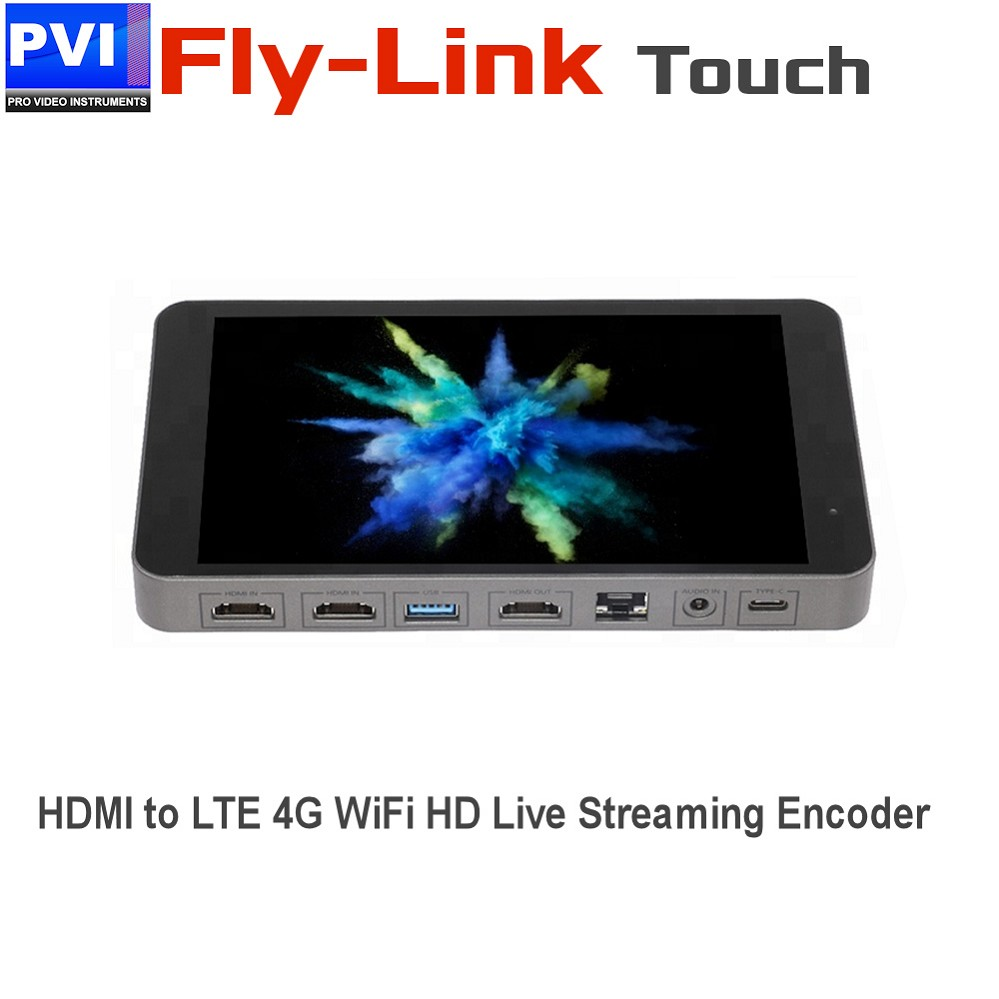 FLY-LINK-HD-TOUCH  Professional LTE 4G WIFI Touch-Screen HDMI Live Streaming Encoder Server HEVC H.265 H.264 for Mobile Live Streaming and Drones applications with APP Control