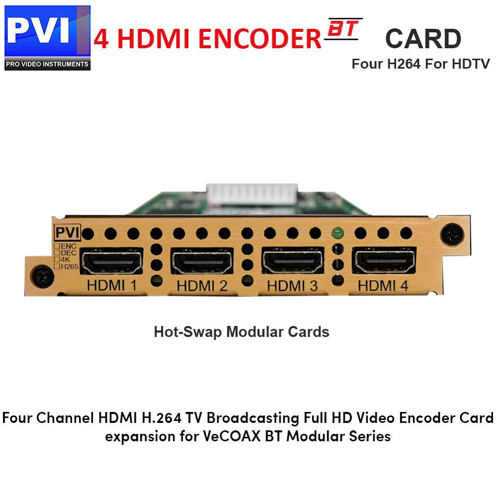 PVI-ENC4SNX-HDMI - 4 Channel HDMI Video Encoder Card for HDTV Broadcasting in Mpeg4 H.264 HD/SD 1080p for VeCOAX BT Chassis