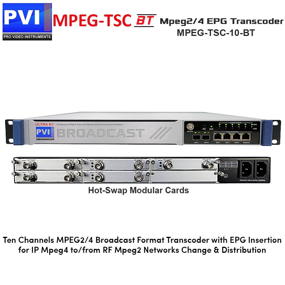 MPEG-TSC-BT-10 Mpeg TranscodeR - 10 Channel Broadcast Mpeg-2/4 Format Transcoder with psi psip epg restamping injection
