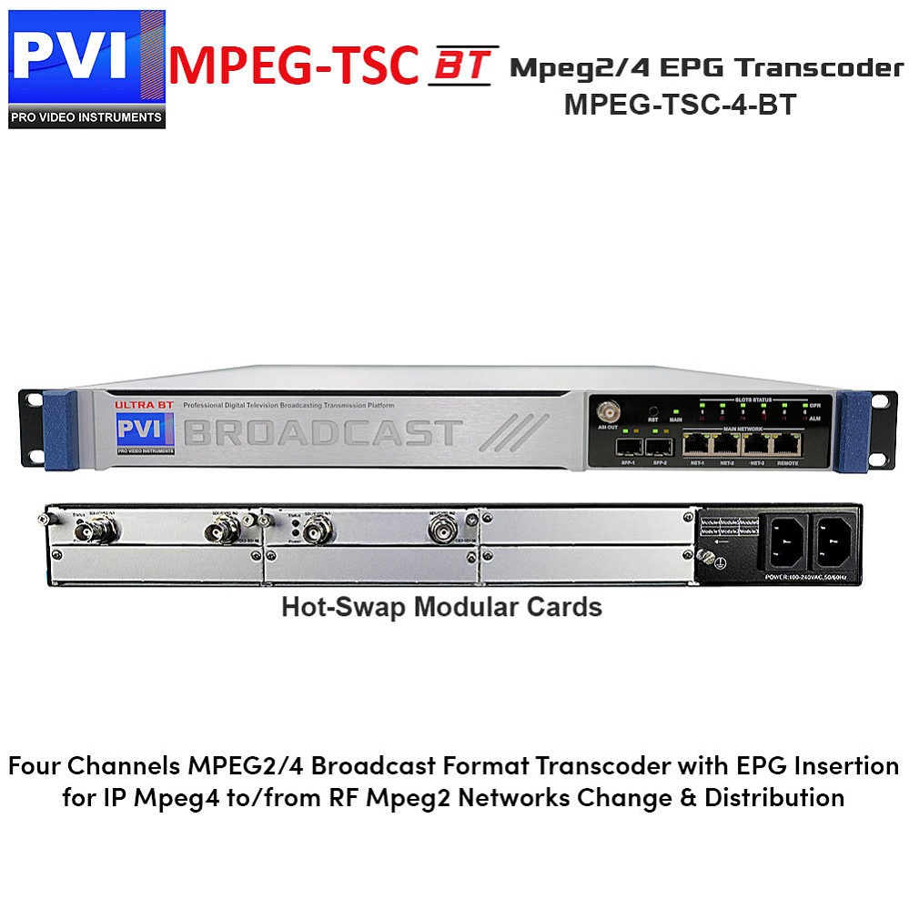 MPEG-TSC-BT-4 Mpeg Transcoder - 4 Channel Broadcast Mpeg-2/4 Format Transcoder with psi psip epg restamping injection